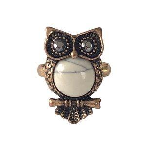 Vintage Owl Brass Adjustable Ring